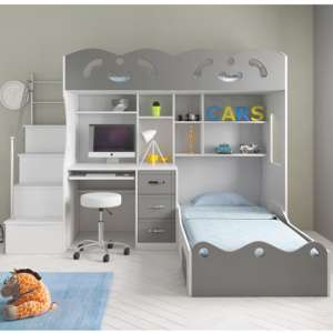 Coco Wooden Combined Bunk Bed In White And Grey