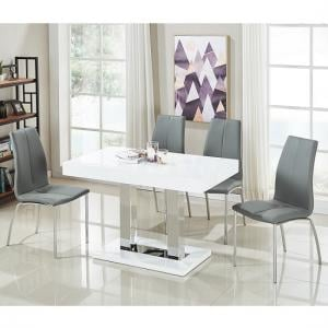 Coco Dining Table In White Gloss With 4 Opal Grey Chairs