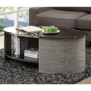 Cohen Glass Coffee Table Oval In Black And Grey Ash