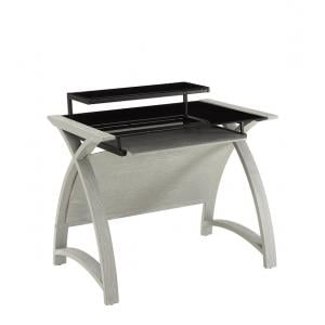 Cohen Curve Computer Desk Small In Black Glass And Grey Ash