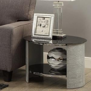 Cohen Glass Lamp Table Round In Black And Grey Ash