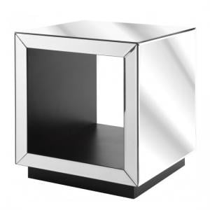 Coisa Trendy Side Table Square In Clear Mirror With Black Base