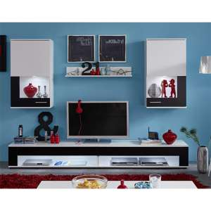 Cojack LED Living Room Furniture Set In Black And White