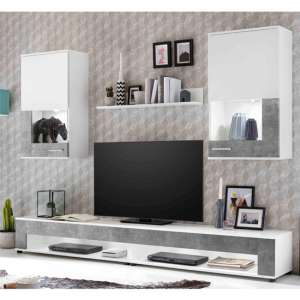 Cojack LED Living Room Furniture Set In White And Stone Grey
