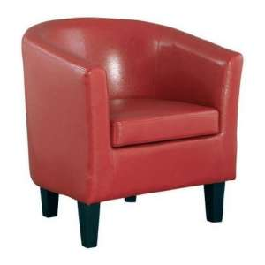 Colby Faux Leather Single Tub Chair In Red