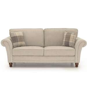 Colette Fabric 3 Seater Sofa In Pewter With Wooden Legs