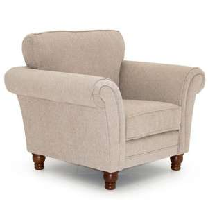 Colette Fabric Sofa Chair In Pewter With Wooden Legs