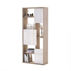 Colorado Bookcase In Brushed Oak With 3 Doors In White Gloss