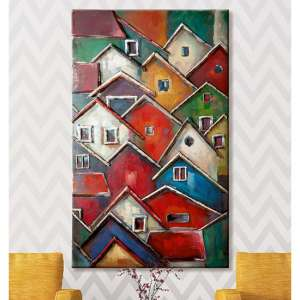 Colorful Village Picture Metal Wall Art In Multicolor
