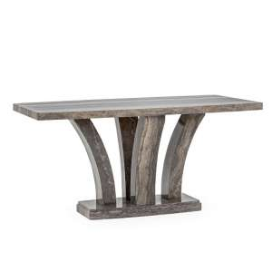 Colton High Gloss Marble Dining Table Rectangular In Pearl Grey