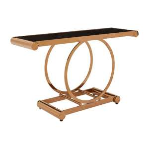 Columbus Glass Console Table In Black With Rose Gold Frame