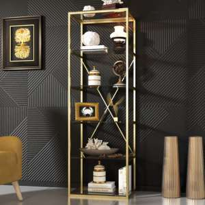Como Clear Glass Display Stand In Gold Stainless Steel Frame