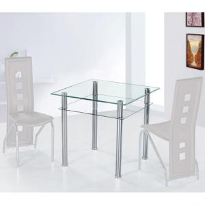 Como Dining Table Square In Clear Glass With Chrome Base