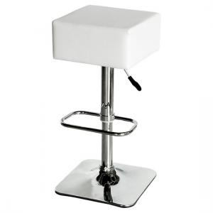Compton Bar Stool In White Faux Leather With Chrome Base