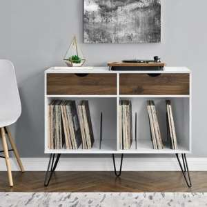 Concord Turntable Bookcase In White And Oak With 2 Drawers