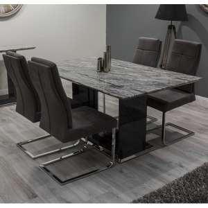 Connor Marble Dining Table In Grey With High Gloss And 6 Chairs