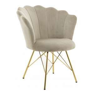 Conrad Velvet Dining Chair In Cream