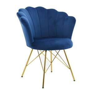 Conrad Velvet Dining Chair In Blue
