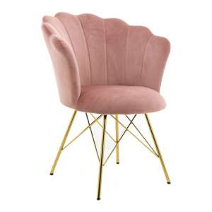 Conrad Velvet Dining Chair In Pink