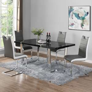 Constable Dining Table In Milano Marble Effect With 6 Petra Grey White Chairs