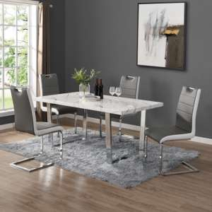 Constable Dining Table In Vida Marble Effect With 6 Petra Grey White Chairs