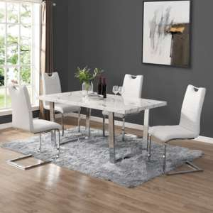 Constable Dining Table In Vida Marble Effect With 6 Petra White Chairs
