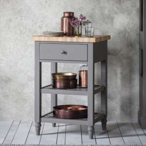 Cookham Wooden Butchers Block Side Table In Grey