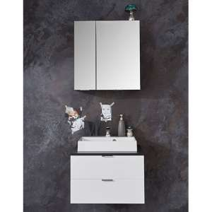 Coone LED Bathroom Furniture Set 1 In White Gloss And Graphite