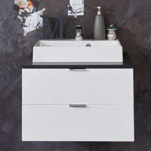 Coone Vanity Unit With Basin In White High Gloss And Graphite