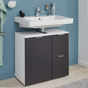 Coone Vanity Unit In White High Gloss And Graphite