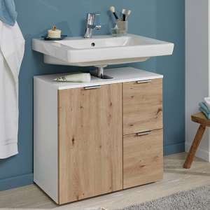 Coone Vanity Unit In White High Gloss And Knotty Oak