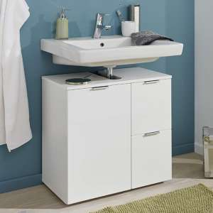 Coone Wooden Vanity Unit In White High Gloss