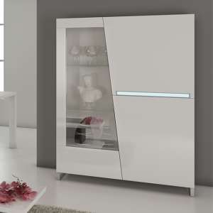 Cooper Wooden Display Cabinet In White Gloss Lacquer With LED