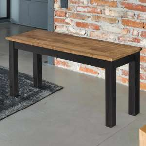 Copenhagen Oiled Wood Dining Bench With Black Frame
