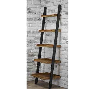 Copenhagen Oiled Wood Ladder Shelf With Black Frame