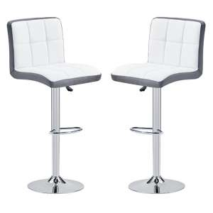 Copez White And Grey Faux Leather Bar Stools In Pair