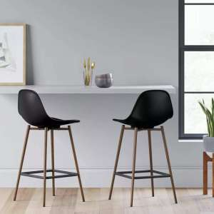 Copley Black Plastic Counter Bar Stool In A Pair