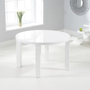 Corano Modern Dining Table Round In White High Gloss