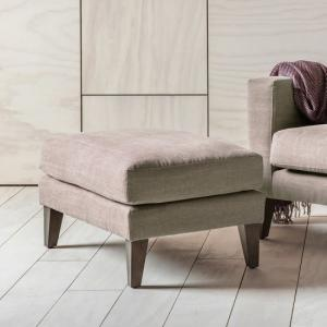 Corban Fabric Foot Stool In Ranch Beige With Wooden Legs