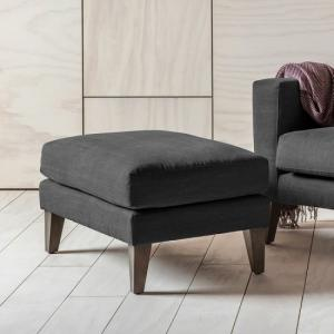 Corban Fabric Foot Stool In Ranch Graphite With Wooden Legs