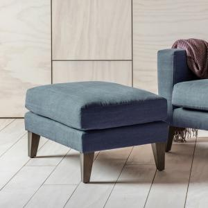 Corban Fabric Foot Stool In Ranch Navy With Wooden Legs