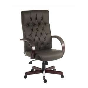 Corbin Executive Office Chair In Brown Faux Leather