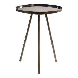 Cordue Glass Side Table Round In Black Iron Finish