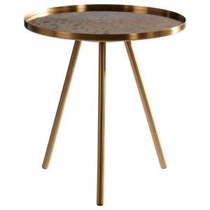 Cordue Glass Side Table Round In Gold Metal Finish