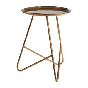 Cordue Metal Side Table In Brass With Hairpin Legs