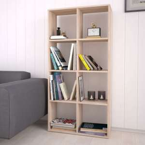 Corfu Wooden Shelving Unit In Oak With 8 Compartments