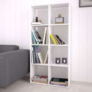 Corfu Wooden Shelving Unit In White With 8 Compartments
