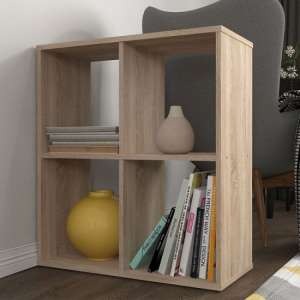 Corfu Wooden Shelving Unit In Oak With 4 Compartments
