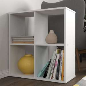Corfu Wooden Shelving Unit In White With 4 Compartments