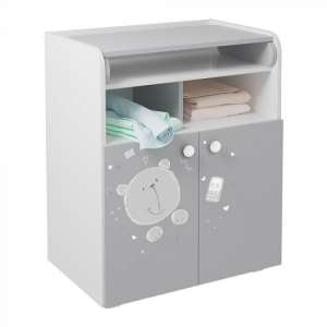 Corfu Teddy Storage Cupboard With Changing Top In White Grey